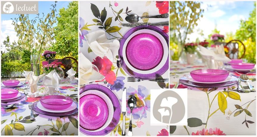 """Mantel Azalea en nuestra mesa """"sobre un manto de flores"""""""